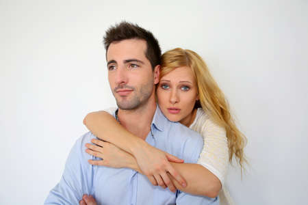 misunderstanding: Girl misunderstanding boysfriends attitude Stock Photo