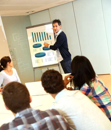 Teacher presenting business plan to college students photo