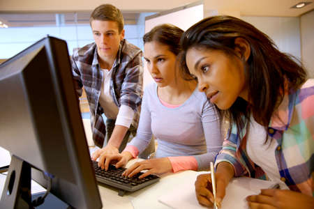 computer training: Group of students working in computer lab Stock Photo