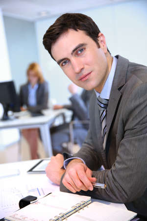 35 years old: Portrait of businessman in office Stock Photo