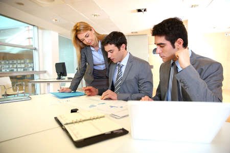 management meeting: Group of people on business project presentation Stock Photo