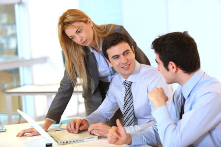 achivement: Businessteam working together on project Stock Photo