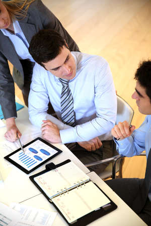 Upper view of business team in work meeting Stock Photo - 17827197
