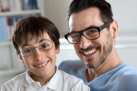 Portrait of young boy with daddy with eyeglasses on Stock Photo - 18918949
