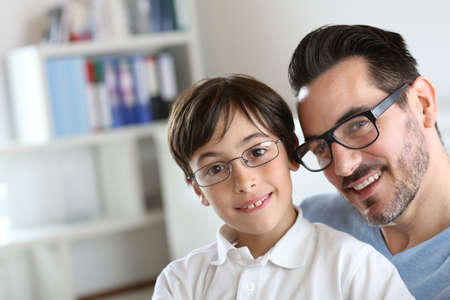 Portrait of young boy with daddy with eyeglasses on Stock Photo - 18918963