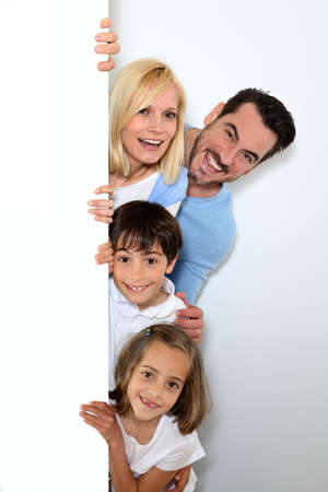 Happy family on white background photo