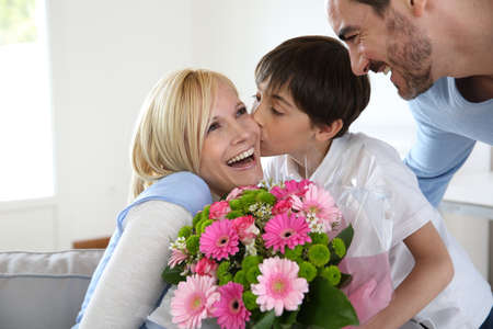 blonde mom: Young boy with father celebrating mothers day