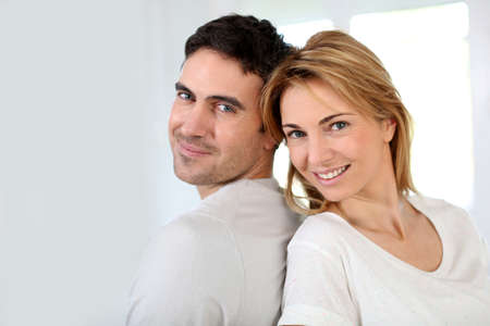 35 years old: Married couple relaxing at home Stock Photo