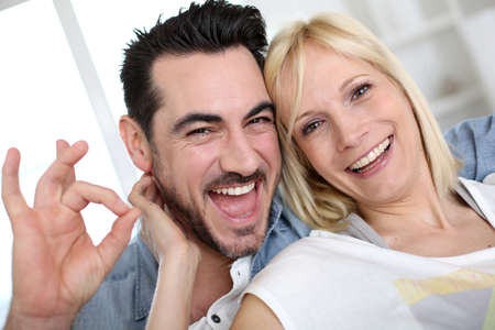 Cheerful couple having fun photo
