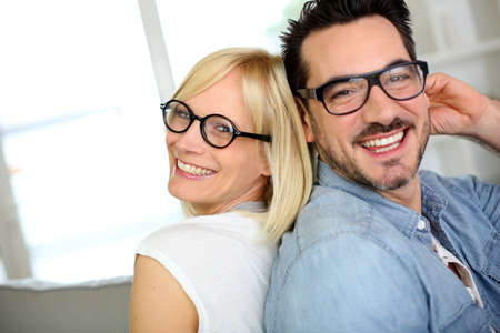 specs: Middle-aged couple wearing eyeglasses Stock Photo