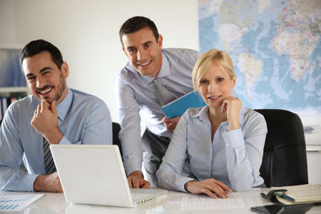 company employee: Portrait of cheerful business team Stock Photo