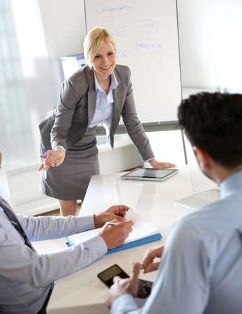 doing business: Businesswoman doing business presentation
