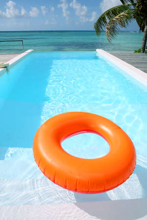 beach buoy: Beautiful view of private infinity pool Stock Photo