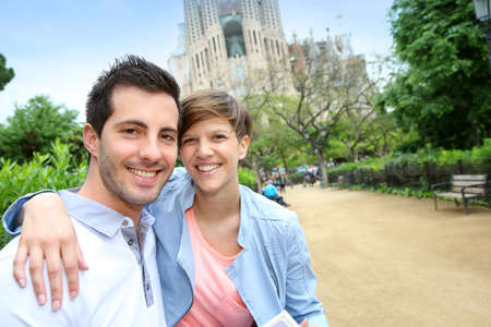 Portrait of cheeful couple in Barcelona photo