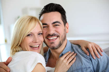 blonde couple: Cheerful couple having fun together