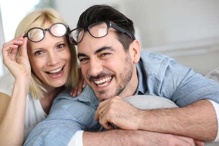 stylish couple: Middle-aged couple wearing eyeglasses Stock Photo