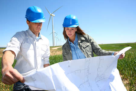 windturbine: Engineers checking on industrial site