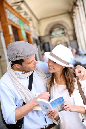 Trendy in love couple visiting European capital photo