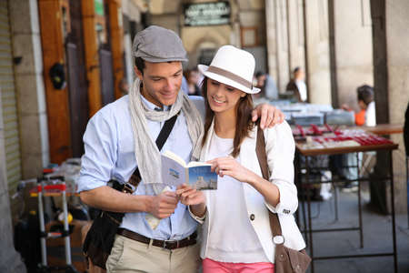 Trendy in love couple visiting Madrid photo