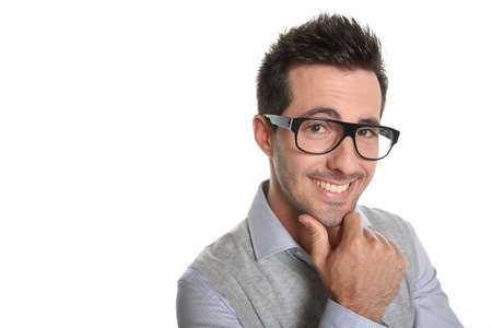 sceptical: Thoughtful guy with eyeglasses Stock Photo