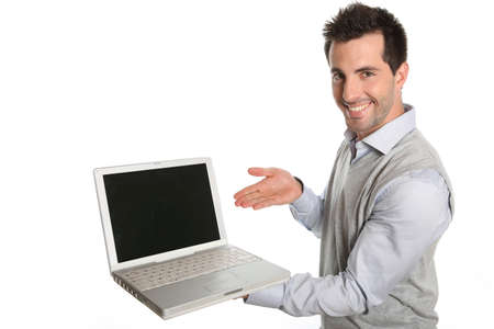 Successful man showing laptop screen to camera photo