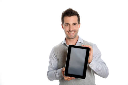 textspace: Startup businessman showing tablet screen