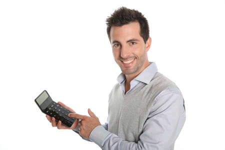 Cheerful guy showing good figures on calculator photo