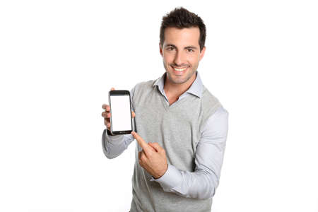 mobile phone: Smiling man pointing at smartphone screen