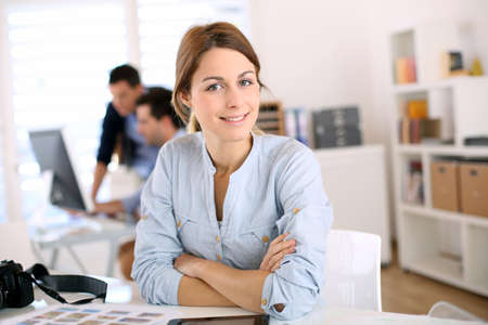 employee training: Portrait of cheerful student in communication