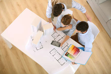 Upper view of architects working in office Stock Photo - 20190205