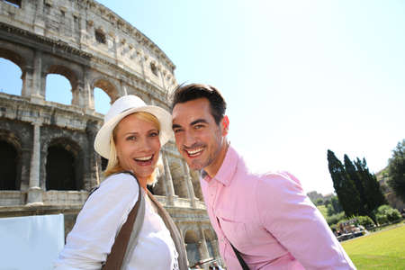 Cheerful couple of tourists in Rome photo