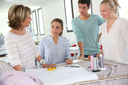 Group of students in dressmaking training school