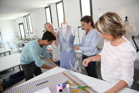 dressmaking: Group of students in dressmaking training school
