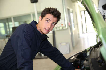 Portrait of student in auto mechanics photo