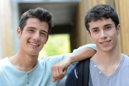 Portrait of smiling teenagers photo