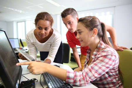 highschool students: Group of students in computers laboratory