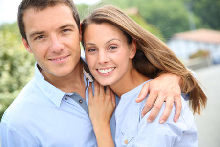 lovely couple: Portrait of cheerful and lovely couple