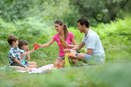 Family picnic time in countryside photo