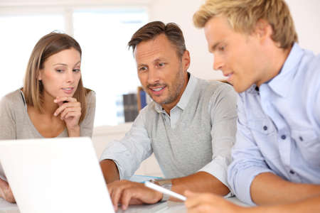 casual meeting: Business team working on project Stock Photo