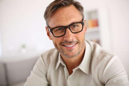 眼鏡とハンサムな男の肖像 写真素材