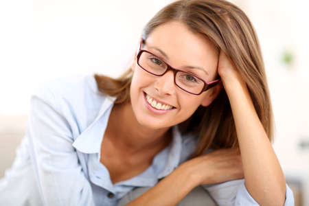 Portrait of beautiful girl with eyeglasses photo