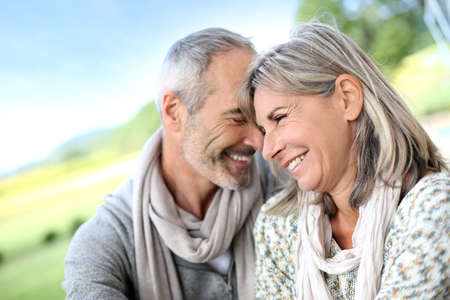married couple: Portrait of loving senior couple Stock Photo