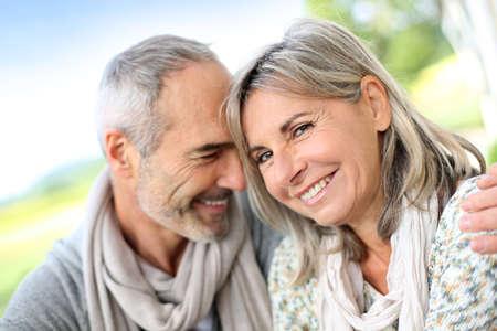 elderly couples: Portrait of loving senior couple Stock Photo