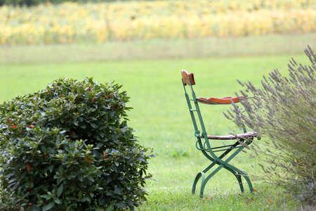 quiet scenery: Closeup of chairs set in garden