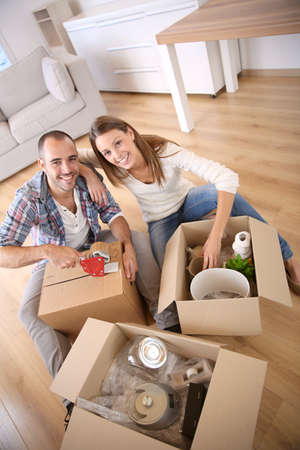 happy home: Young adults moving in new home