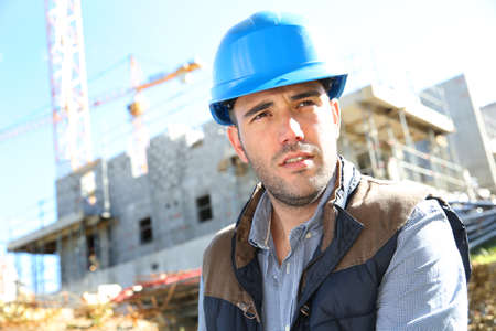 security helmet: Portrait of construction manager with security helmet