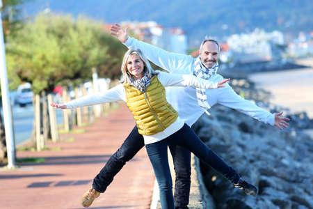 Senior couple enjoying freedom