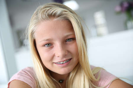 teenaged: Portrait of young blond teenaged girl