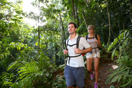 rambling: Couple on a trekking day in tropical forest
