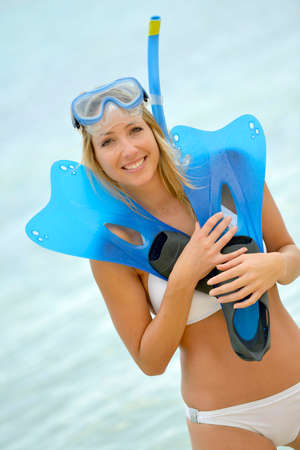 Woman with snorkeling outfit photo